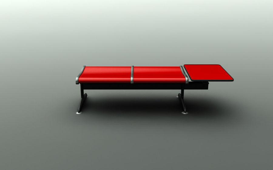 Ławka lotniskowa (podwójna ze stołem) royalty-free 3d model - Preview no. 2