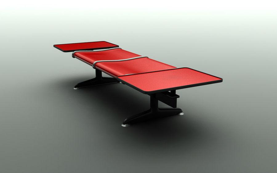 Скамья в аэропорту (двухместный с таблицами) royalty-free 3d model - Preview no. 3