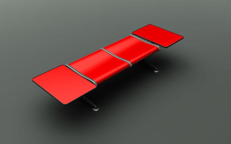 Скамья в аэропорту (двухместный с таблицами) royalty-free 3d model - Preview no. 1