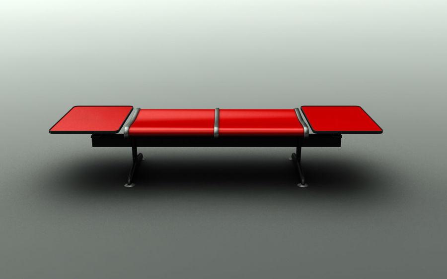 Скамья в аэропорту (двухместный с таблицами) royalty-free 3d model - Preview no. 2
