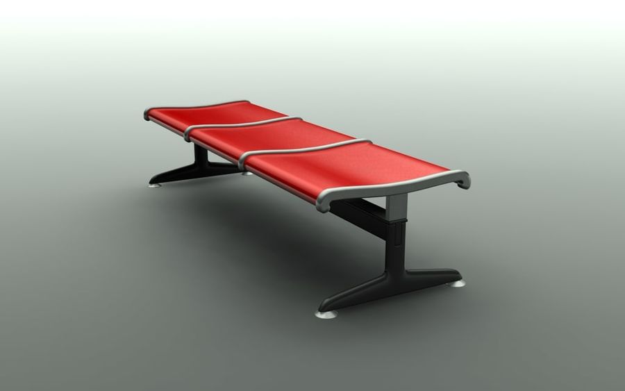 Banco do aeroporto (triplo) royalty-free 3d model - Preview no. 3