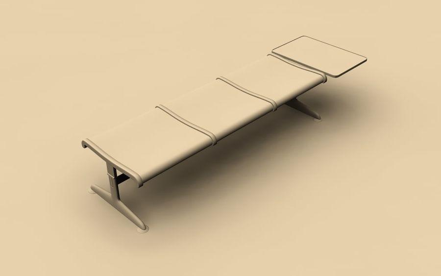 Ławka lotniskowa (potrójna ze stołem) royalty-free 3d model - Preview no. 4
