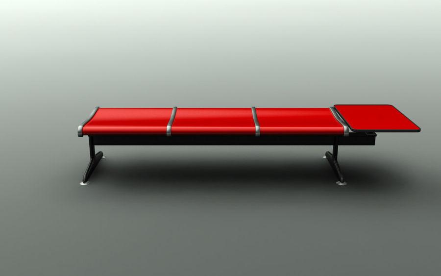 Ławka lotniskowa (potrójna ze stołem) royalty-free 3d model - Preview no. 2