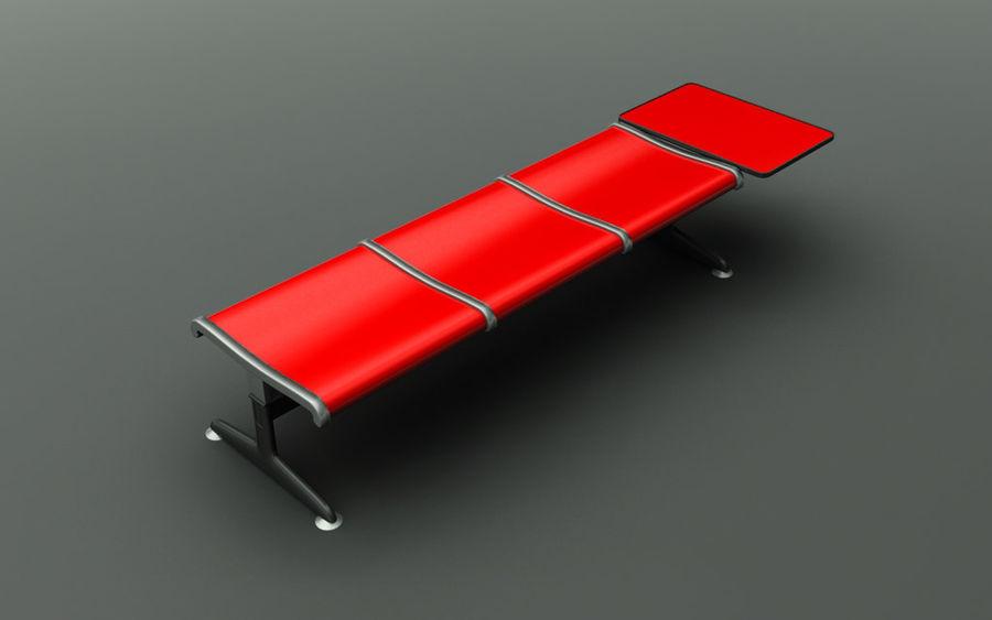 Ławka lotniskowa (potrójna ze stołem) royalty-free 3d model - Preview no. 1