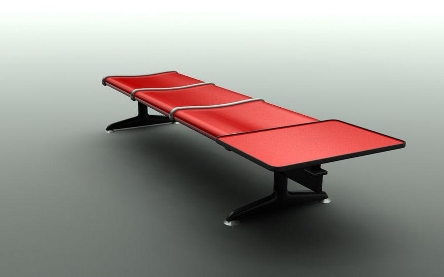 Ławka lotniskowa (potrójna ze stołem) royalty-free 3d model - Preview no. 3