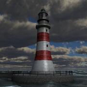 Scène océanique du phare 3d model
