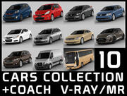 10台の車のコレクション+コーチ 3d model