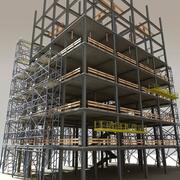 Construcción de acero modular modelo 3d