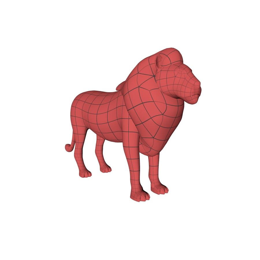 Lion base mesh royalty-free 3d model - Preview no. 2