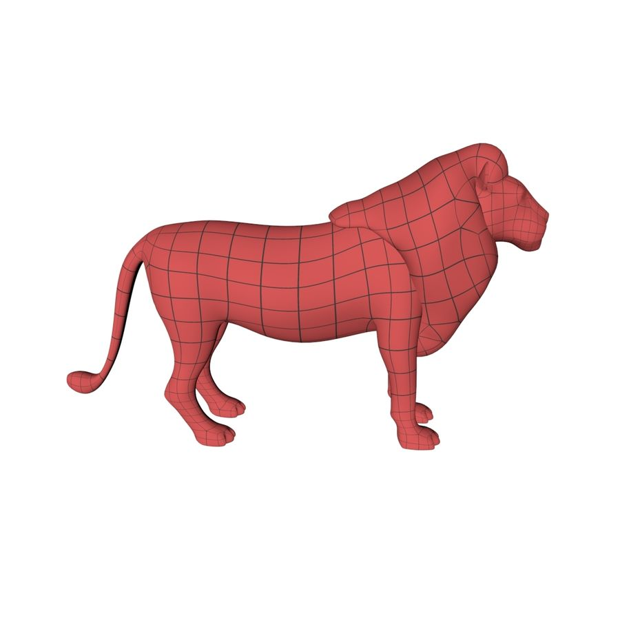 Lion base mesh royalty-free 3d model - Preview no. 1