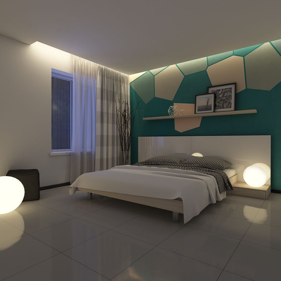 Bedroom royalty-free 3d model - Preview no. 3