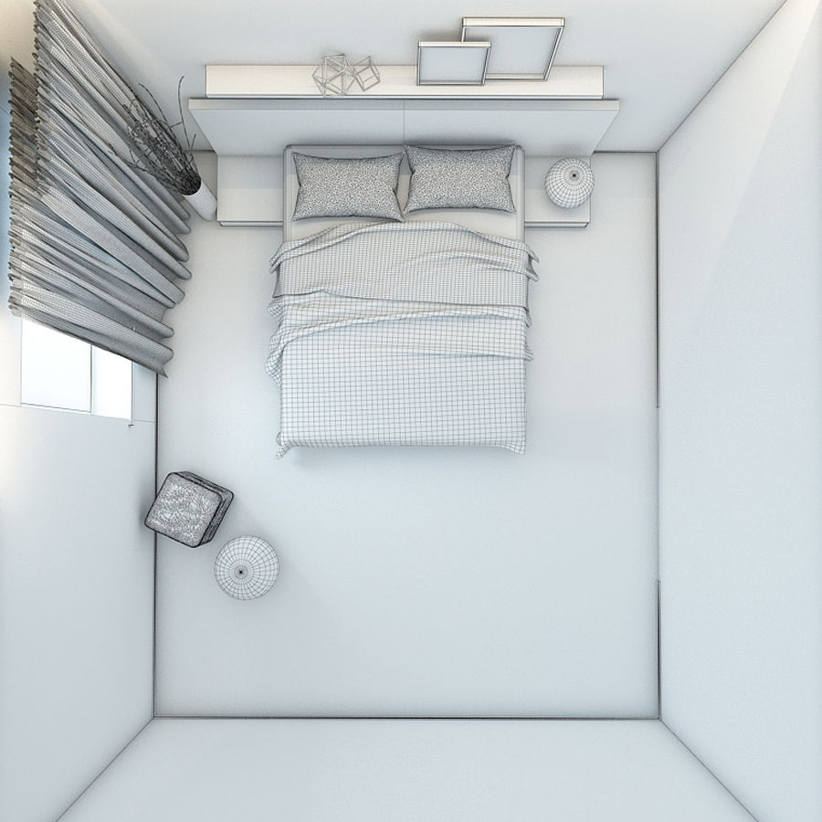 Bedroom royalty-free 3d model - Preview no. 7