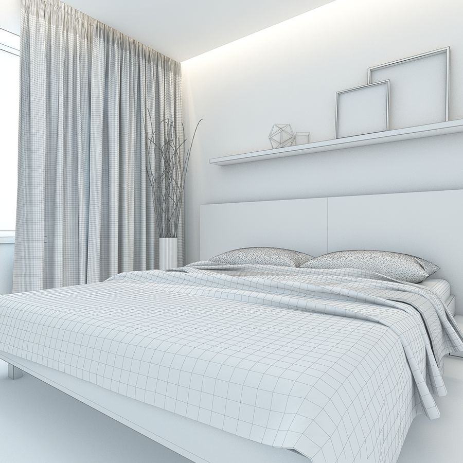 Bedroom royalty-free 3d model - Preview no. 6