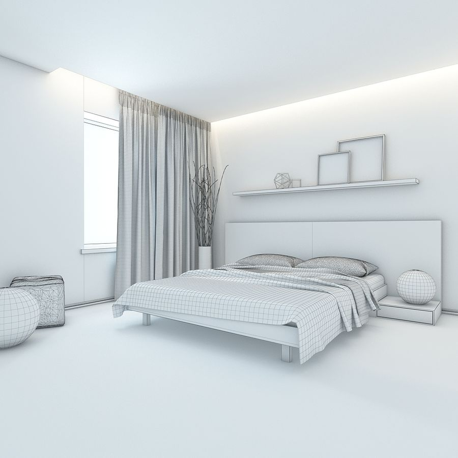 Bedroom royalty-free 3d model - Preview no. 5