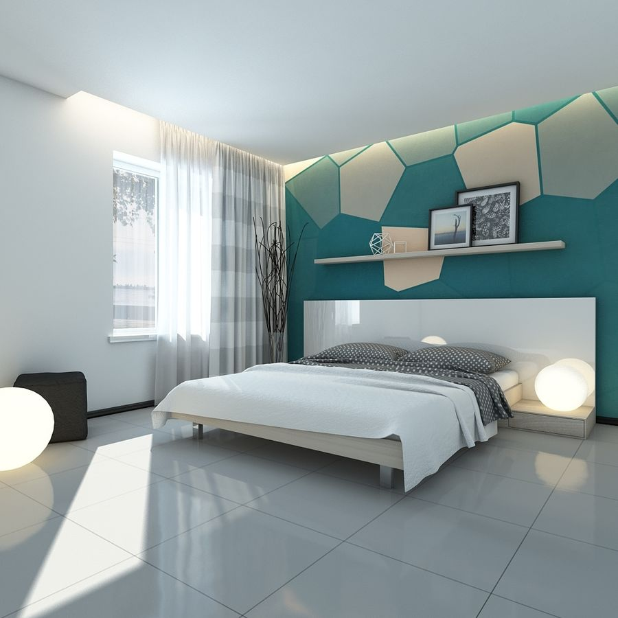 Bedroom royalty-free 3d model - Preview no. 2