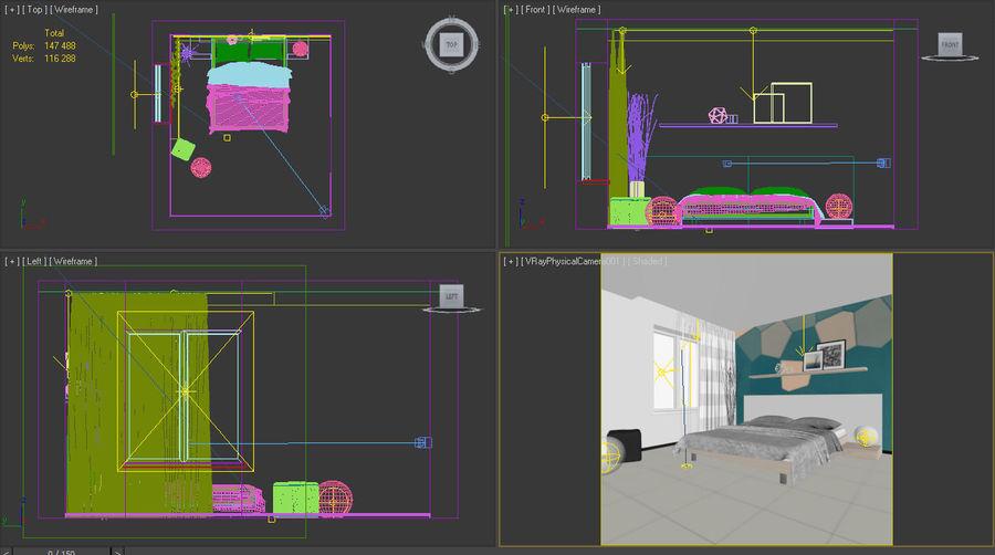 Yatak odası royalty-free 3d model - Preview no. 4