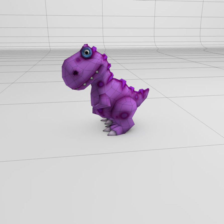 Cartoon dinosaur T.rex royalty-free 3d model - Preview no. 3