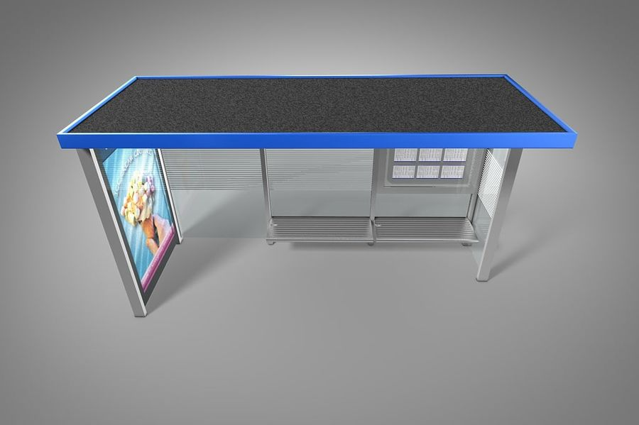 Bus stop royalty-free 3d model - Preview no. 4