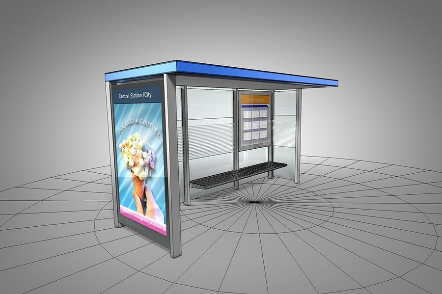 Bus stop royalty-free 3d model - Preview no. 5
