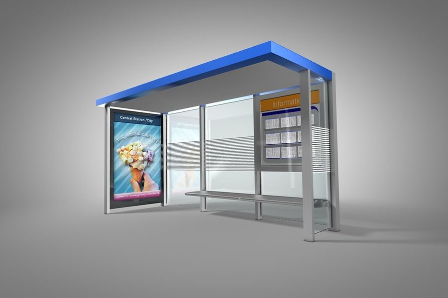 Bus stop royalty-free 3d model - Preview no. 1