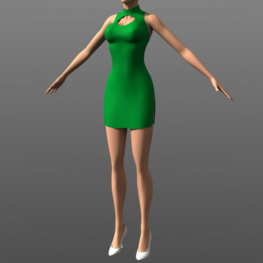 Clothing - Peekaboo Dress royalty-free 3d model - Preview no. 1