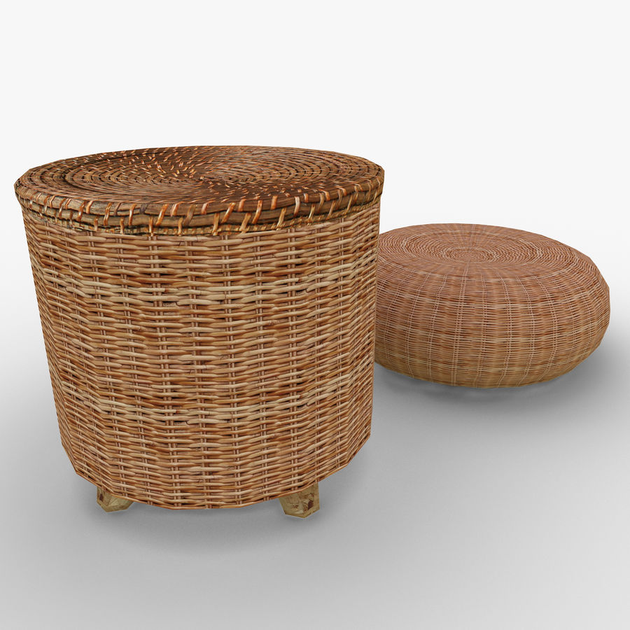 Rattan Furniture Chairs royalty-free 3d model - Preview no. 4