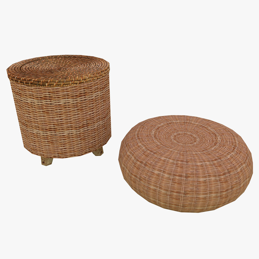 Rattan Furniture Chairs royalty-free 3d model - Preview no. 1