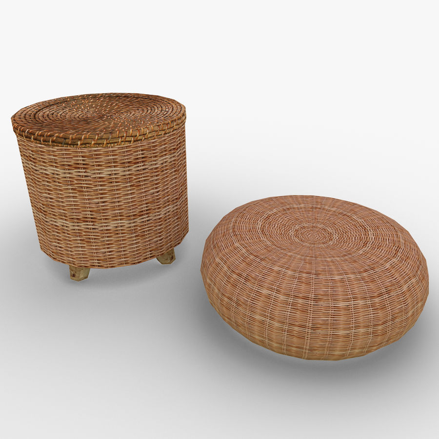 Rattan Furniture Chairs royalty-free 3d model - Preview no. 2