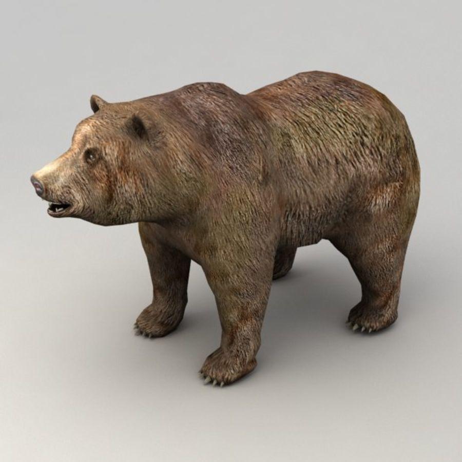 Animowany niski niedźwiedź grizzly royalty-free 3d model - Preview no. 2
