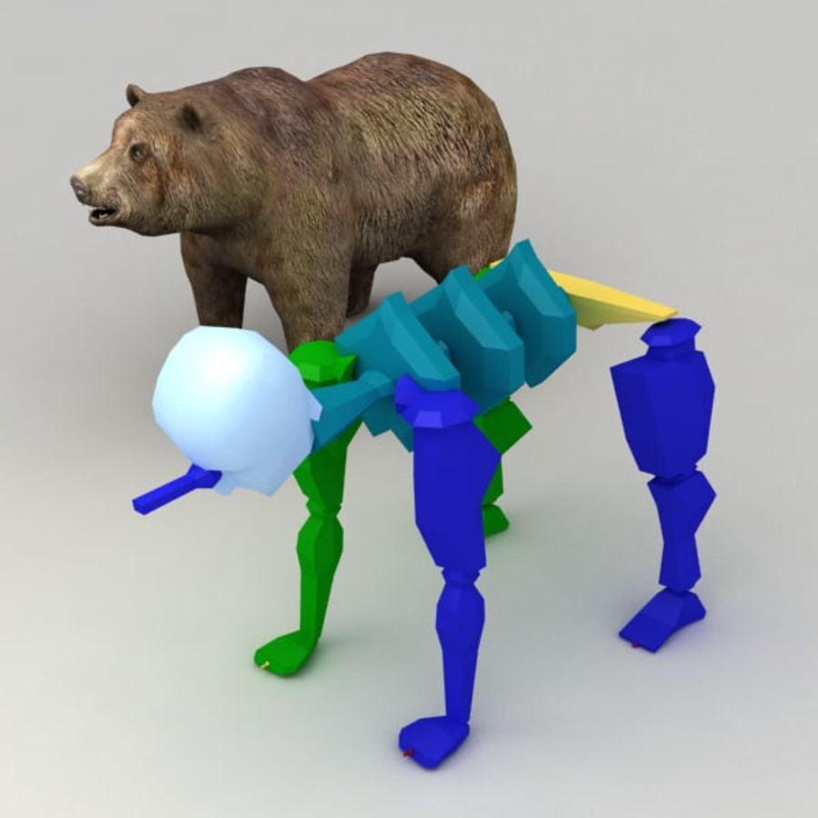 Animowany niski niedźwiedź grizzly royalty-free 3d model - Preview no. 10