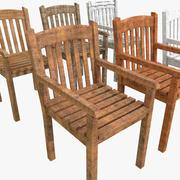 Jardín Silla de tablones de madera Viejo Campo Nuevo pintado de blanco patio pintado patio interior comedor hogar banco asiento modelo 3d