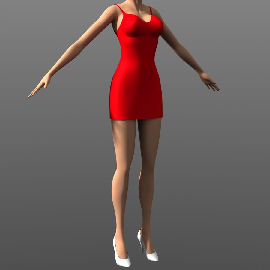 Clothing - Tight Dress royalty-free 3d model - Preview no. 2