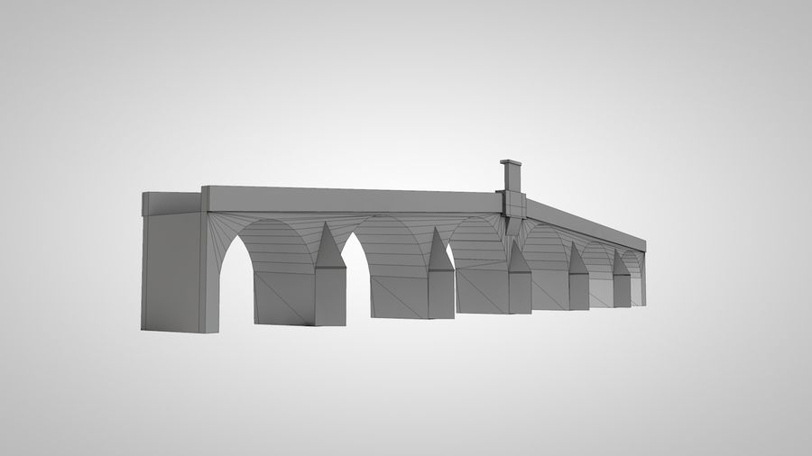 Old Stone Bridge royalty-free 3d model - Preview no. 6