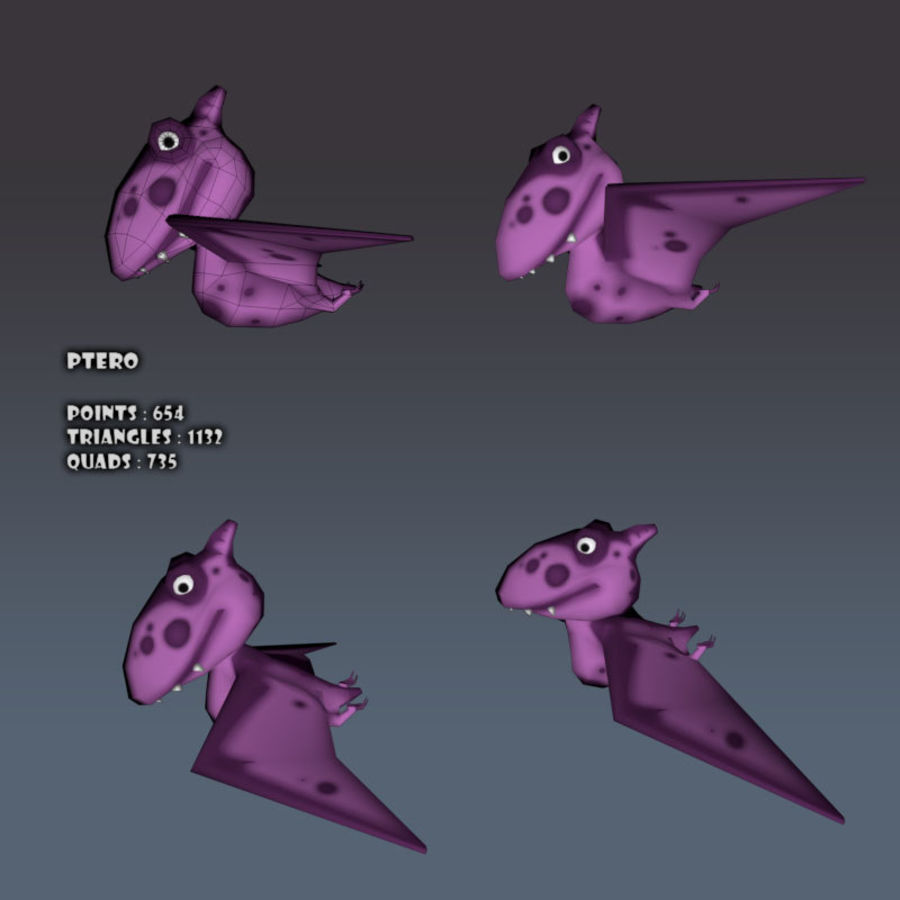 Cartoon dinosaur Pterodactylus royalty-free 3d model - Preview no. 8