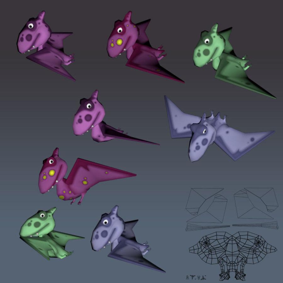 Cartoon dinosaur Pterodactylus royalty-free 3d model - Preview no. 9