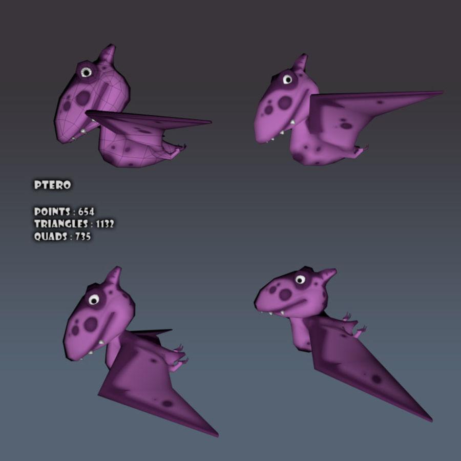 Cartoon dinosaur Pterodactylus royalty-free 3d model - Preview no. 8