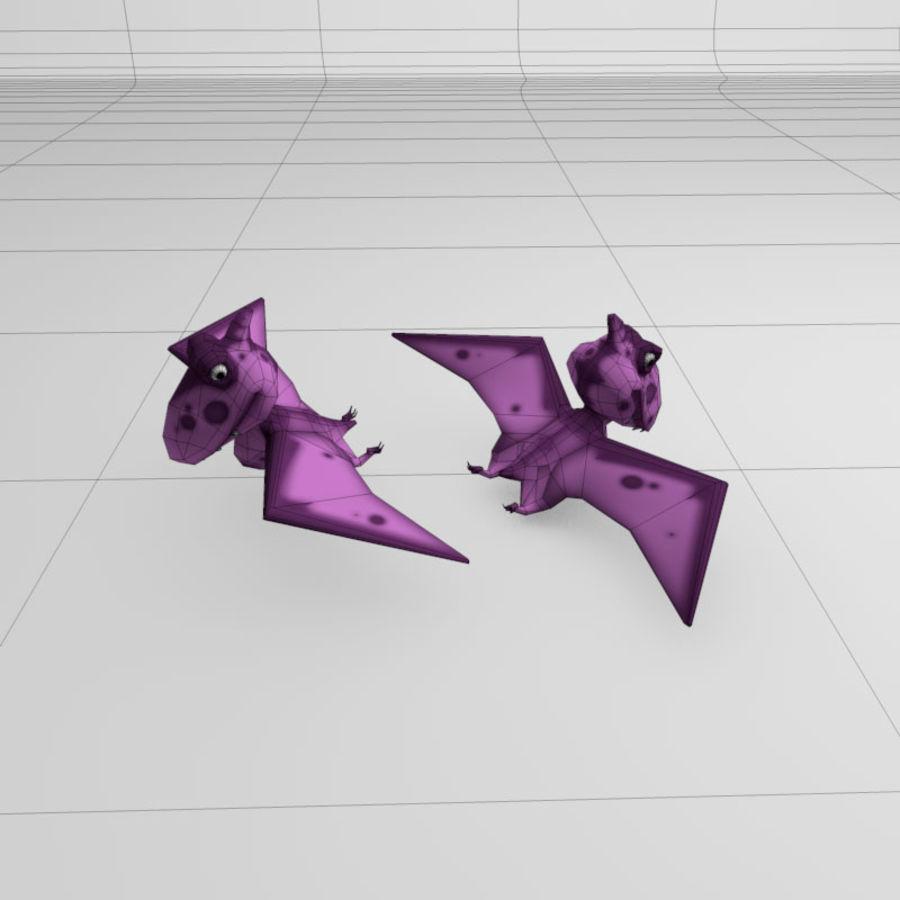 Cartoon dinosaur Pterodactylus royalty-free 3d model - Preview no. 3