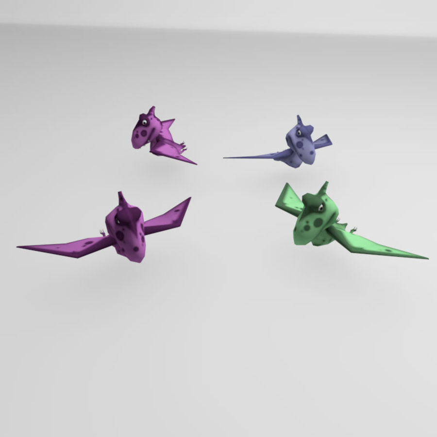 Cartoon dinosaur Pterodactylus royalty-free 3d model - Preview no. 6