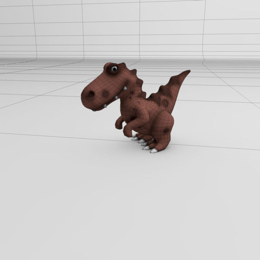 Cartoon dinosaur Velociraptor royalty-free 3d model - Preview no. 5