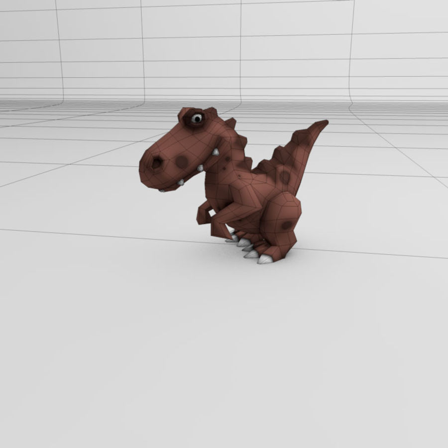 Cartoon dinosaur Velociraptor royalty-free 3d model - Preview no. 3