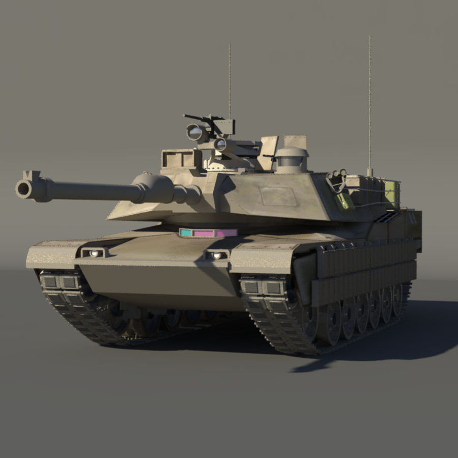 M1A2 Abrams tank royalty-free 3d model - Preview no. 3