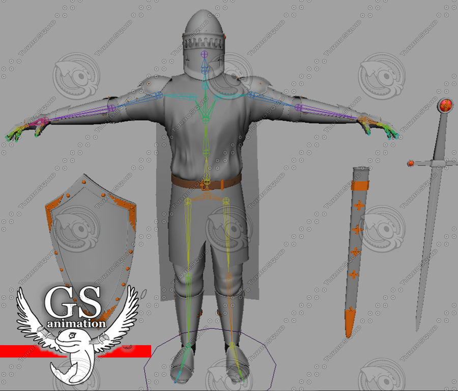 Medieval Knight rigged royalty-free 3d model - Preview no. 3