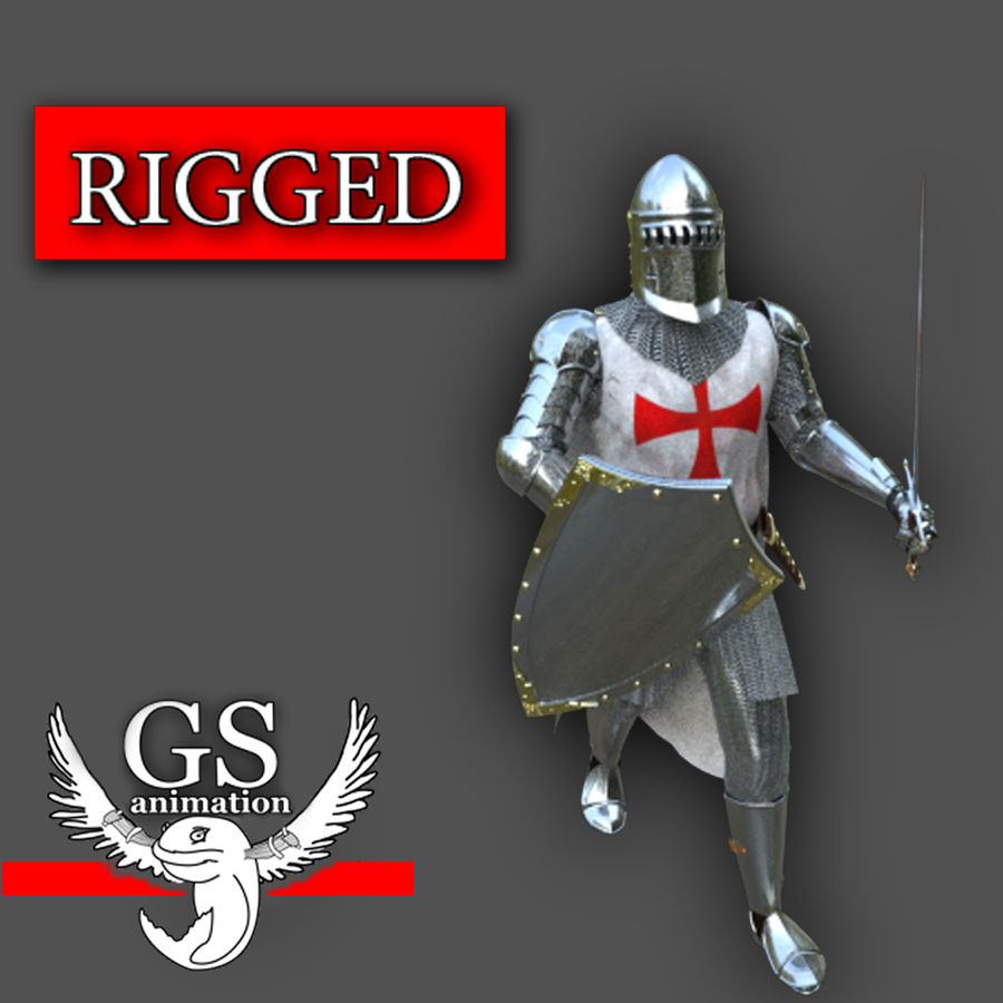 Medieval Knight rigged royalty-free 3d model - Preview no. 1