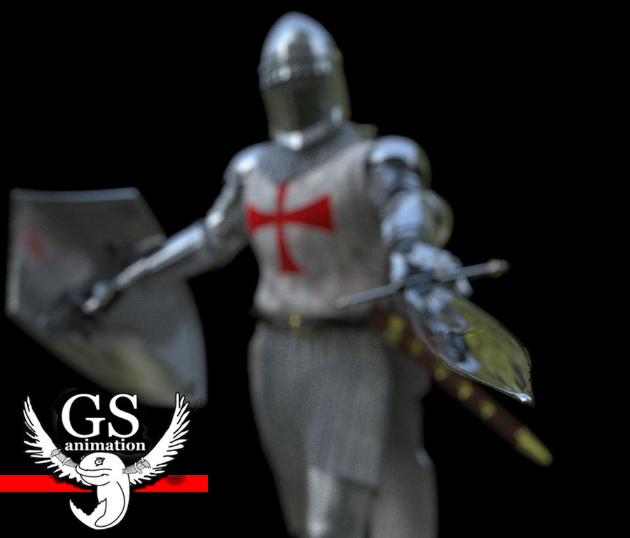 Middeleeuwse ridder opgetuigd royalty-free 3d model - Preview no. 4