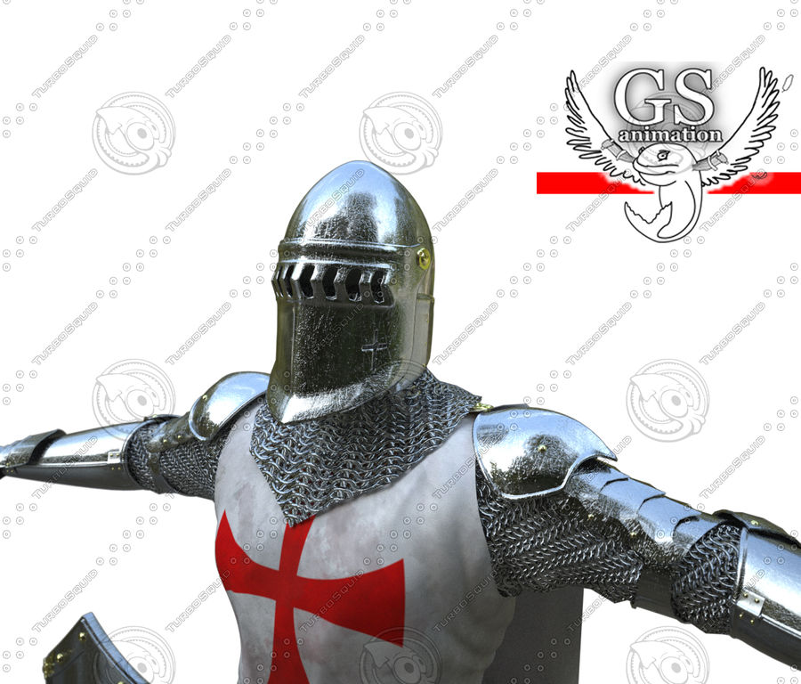 Medieval Knight rigged royalty-free 3d model - Preview no. 8