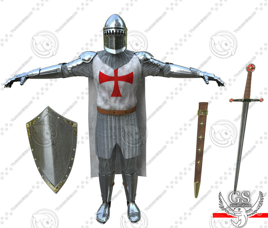 Medieval Knight rigged royalty-free 3d model - Preview no. 9