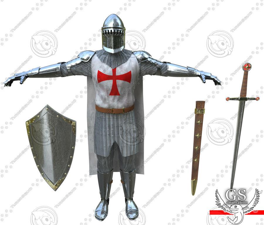 Middeleeuwse ridder opgetuigd royalty-free 3d model - Preview no. 9