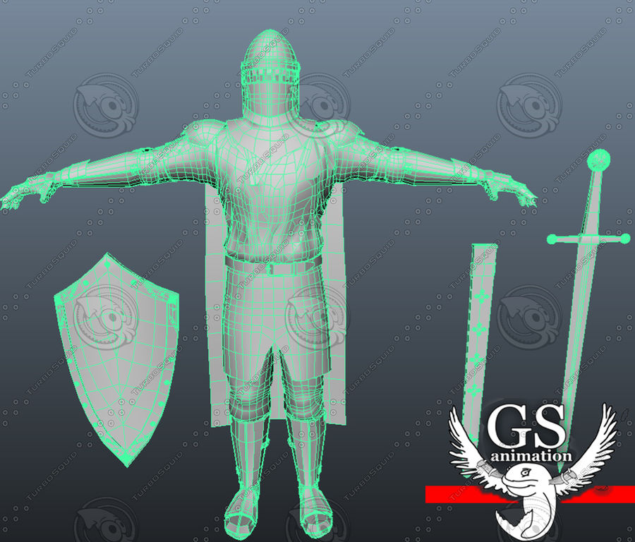 Medieval Knight rigged royalty-free 3d model - Preview no. 7