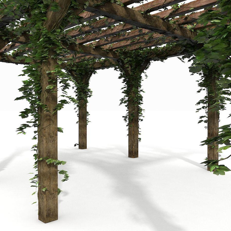 アイビー植物と木のパーゴラ royalty-free 3d model - Preview no. 19