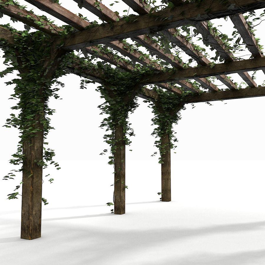 アイビー植物と木のパーゴラ royalty-free 3d model - Preview no. 4